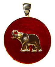 """Gold-plate Elephant on a red enamel coin shape. Size: 1.25""""."""