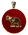 "Gold-plate Elephant on a red enamel coin shape. Size: 1.25""."
