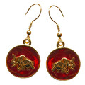 "Gold-plate Elephant on a red enamel coin shape french wire earrings.. Size of coin : 0.25""."