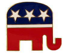 "An ideal lapel pin during election season! The Republican logo is gold-plate with red, white and blue enamel background and white stars in the shape of an elephant. Size: ½""."