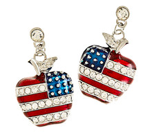 "American flag drop earrings in the shape of an apple, with red enamel and diamond like Swarovski crystals stripes. The stars are silver dots with a blue enamel background. Drop approx 1.2"", post back, lead compliant. Goldplate."
