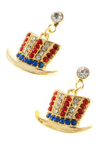 """American flag Uncle Sam shaped hat drop earrings in red, white and blue rhinestone crystals. Drop approx. 1.5"""", post back,goldplate, lead free."""