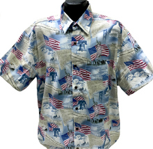 Inspired by the American spirit, this shirt is perfect for all Patriotic holidays. Shirt is made of 100% combed cotton and is made in the USA. It features matched pockets, real coconut buttons, double-stitching, and side vents so shirt can be worn outside or tucked in.