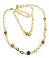 """A patriotic stylish long necklace  - 15"""" featuring six red, white and blue round rhinestone gemstones."""