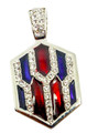This neckslide features diamond-like crystals on the pendant as well a on the chain loop with red and blue enamel background.