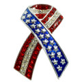 "Whether you know and care for a military service member personally or are a grateful fellow citizen, this Patriotic Ribbon neckslide is a wonderful way to show your support and wish for their safe return. Featuring a stars and stripes motif in silver-plate and crystal, wearing this pin honors those who know the price of freedom. Red White and Blue enamel in silverplate with red and diamond like crystals. 1.5"" neckslide."
