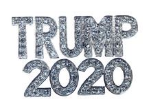 """Show your support for Donald Trump in 2020! Diamond like Swarovski crystal, silver-plate brooch/pin. Pin back with safety lock. Size: 1½""""W x 1""""H"""