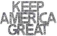 """A great brooch/pin to wear on clothing or pin to a cap or handbag to show your love for America. The """"Keep America Great"""" letters have small white crystals that sparkle like diamonds."""