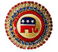 "Cloisonne Republican Crystal Pin/Brooch featuring three rows of red white and blue Swarovski crystals. The words ""Proud to Be a Republican"" with the logo are featured in the center. Approx. 1¼""."