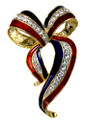 Support our troops!  Gold-plate pin in the shape of a bow, enamel with diamond like Swarovski crystal ribbon.