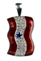 Diamond-like Swarovski crystals with red enamel and a blue star. Service Banner for Blue Star moms.