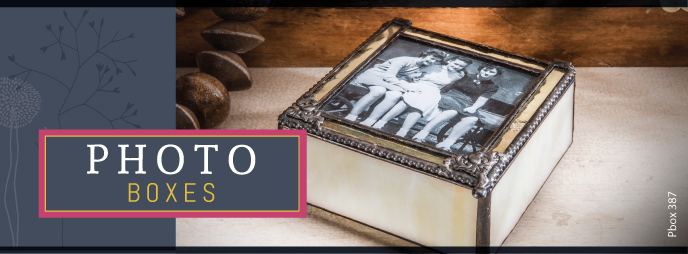 J. Devlin Glass Photo Boxes make unique gift ideas. Textured and stained glass create timeless decor.