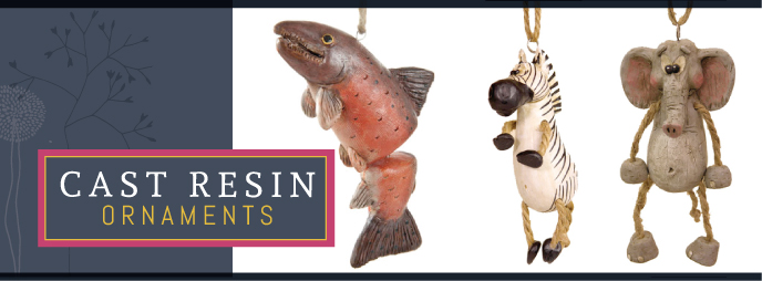 Bert Anderson cast resin ornaments, unique gifts, animal ornaments and santa oranments