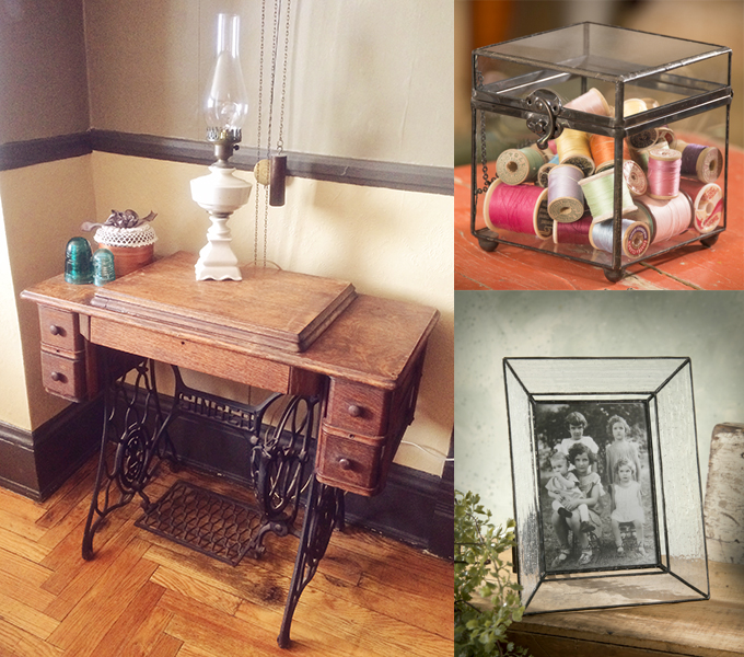 J. Devlin glass box and glass photo frame accent this old vintage sewing machine table.
