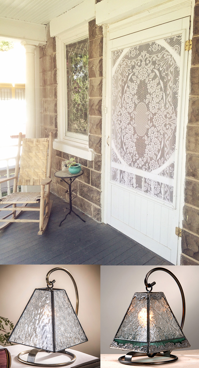 J. Devlin mini lamp accents vintage lace on screen door
