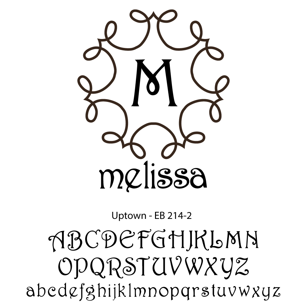 Single Initial with Name Monogram-uptown