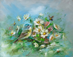 Blue-Headed Vireo and Spring Daisies- Artist Proof