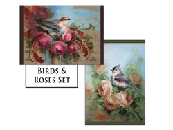 Birds and Roses Greeting Card Set