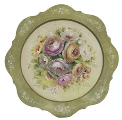 Summer Roses on Scalloped plate