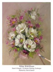 P1120 White Wild Roses- Printed