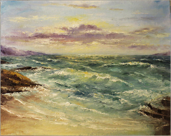 DVD1068 Surf at Sunset- Palette Knife Painting-Download MP4