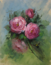 Open Roses and Bee