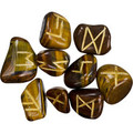 Tigers Eye  Rune Stones Kit with Pouch & Scroll