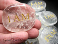 I AM Clear Quartz Palm Stone