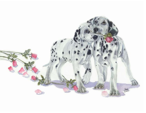 Polka Dot & Moonbeam Valentine's Day Greeting Card- Dalmatian-package includes six cards.