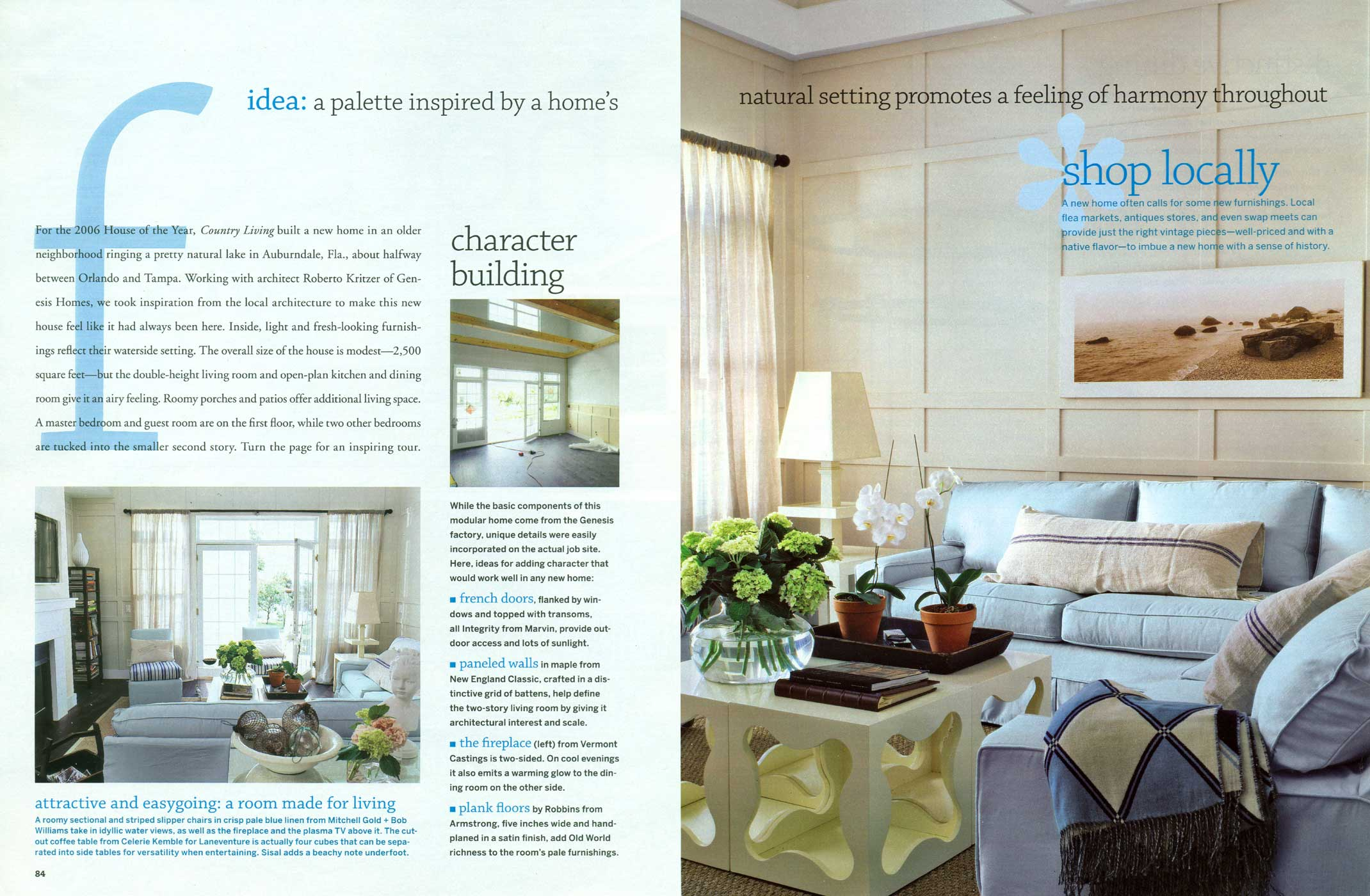 Classic American flat panel wainscoting with custom rails was featured in this issue of Country Living.