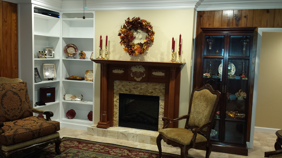 Georgian Wood Mantel with a custom carving added by the customer