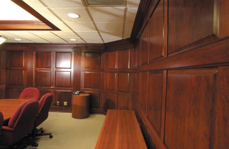 cherry wainscoting in board room