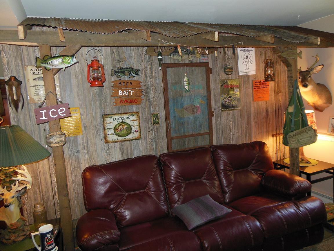 Weathered Cedar Paneling in a rustic rec room remodel