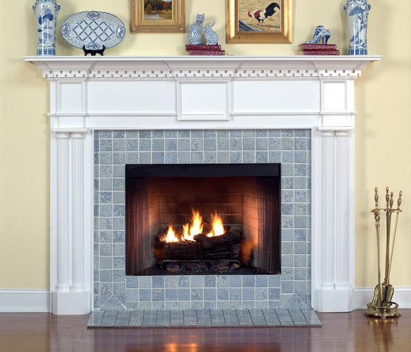 The detail of the Columbia fireplace is what makes it an excellent example of a formal Traditional Colonial design.