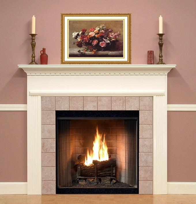 Pretty Stone Fireplace: Wood Fireplace Mantel Surrounds