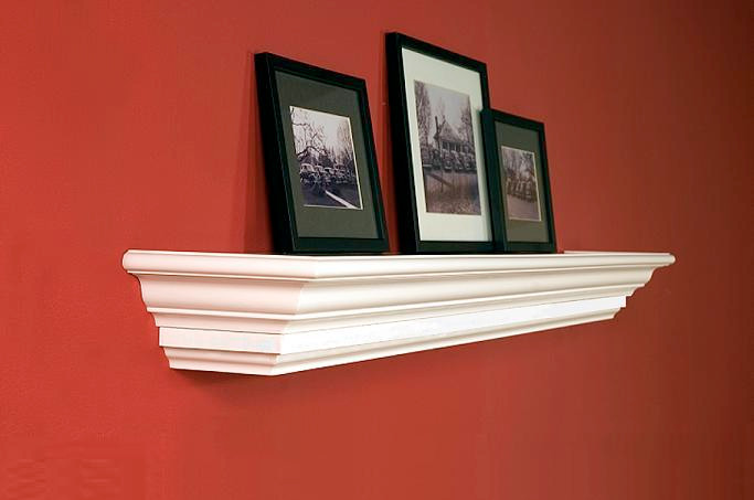 The Manassas is a  wood fireplace mantel shelf with customer favorite crown molding for an tastefully elegant look.