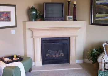 Installed corner mantel.