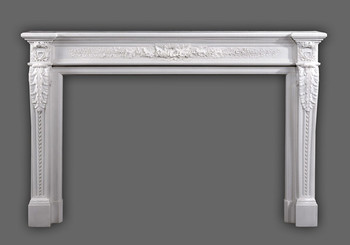 The elegant Auguste marble mantel.