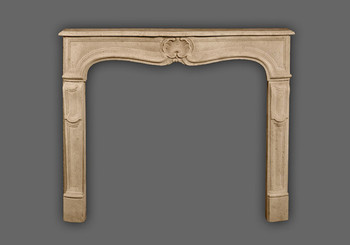 The Provence marble mantel has a beautiful shell as a center piece and long detailed but simple legs