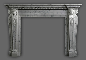 The Italian Renaissance inspired the design of this marble mantel.