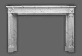 Marble mantel that is full of crafted details.