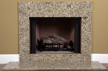 Venetian gold granite fireplace facing installed around a fireplace.