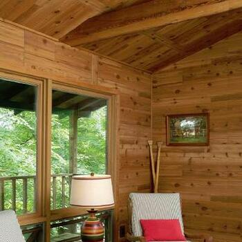 Western red cedar wall paneling.