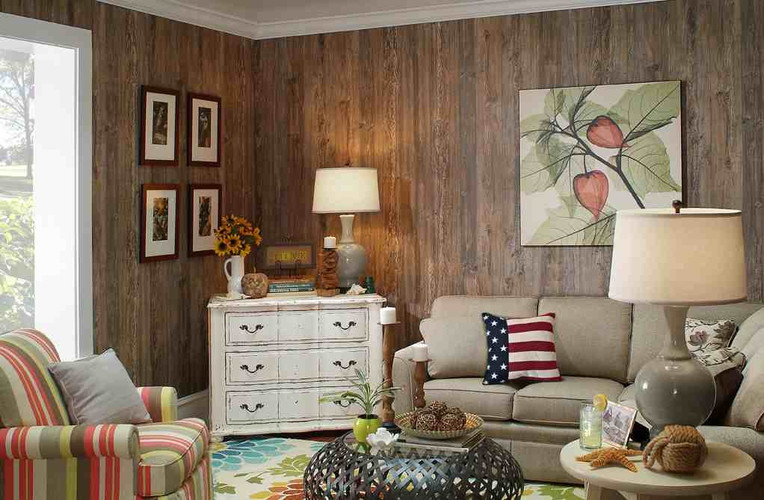 Weathered Cedar Paneling in a rustic family room makeover