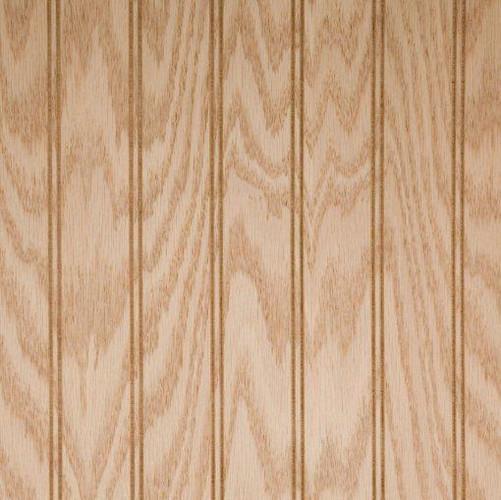 Oak veneer plywood paneling.