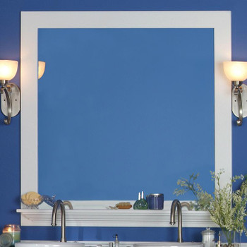 "White 4"" Marion Mirror Frame w/ Convenience Shelf"