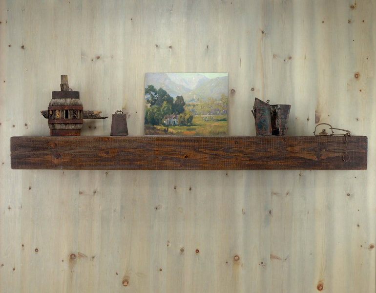 Antique pine mantel shelf