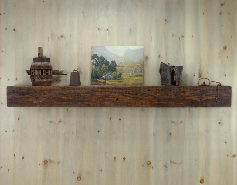 Antique pine mantel shelf