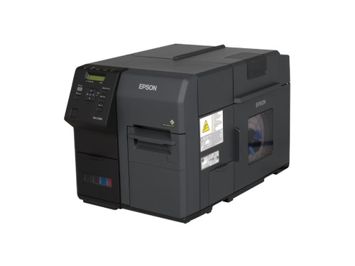 Epson TM-C7500 Matte GHS Label Printer front view The Epson TM-C7500 pigment inkjet label printer uses 4 large CKMY ink cartridges to give you the lowest ink cost per label at 11.6 ips.