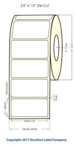 """Primera LX400 2"""" x 1"""" High Gloss Labels 1700/Roll"""